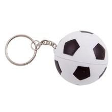 Anti-stress nøgleringe i form af en fodbold (sort / hvid farve, diameter: 40 mm)