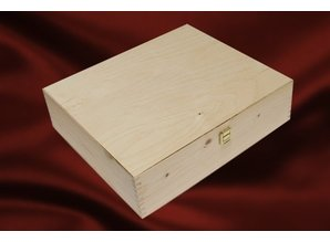 4-bin wine boxes with hinged lid (with two hinges and a lock)