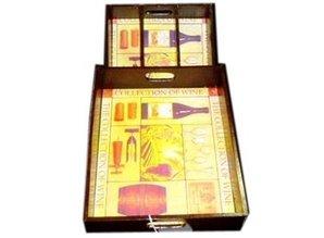 Tre-compartment Vin tilfælde i kombination med bakke (dekoreret)