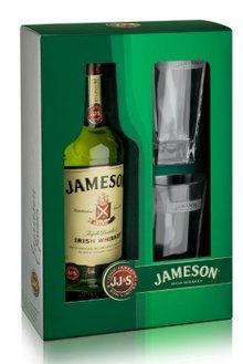 Jameson Irish Whiskey (0,7 liters flaske med 2 originale whisky briller pakket i en gaveæske)