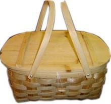Grofgebreide picknickmanden met 2 hengsels (afmeting 41 x 32 x 19 cm)
