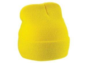 Goedkope gele gebreide winter mutsen (volwassen maat)