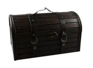 Brown wooden treasure chests (oversized dimensions 400 x 200 x 230 mm)