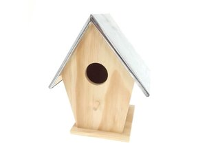 Nice finished wooden bird houses with tin roof!