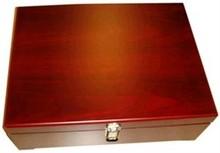 Luxe bruine 3-vaks houten wijnkist met vakverdeling (afmeting 33 x 24,5 x 11 cm)