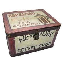 """Дървен ковчег тема Текст очаква """"Coffee Shop"""" (размери 26 х 19 х 16 см),"""