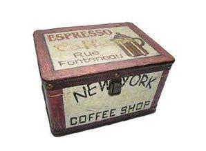 """Houten thema kist voorzien van de Tekst """"Coffee Shop"""""""
