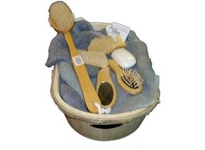 Небоядисани дървени вани вкл дървена комплект за баня (състояща се от: 1 баня, 1 четка за баня, 1 четка за коса, 1 нокти четка, четка за нокти и 1 фут 1 огледало).