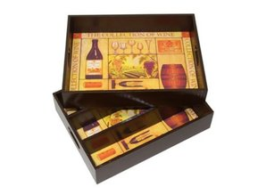 Three-compartment Wine cases in combination with tray (decorated)
