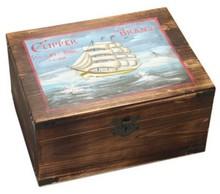 """Echte houten scheepskisten """"Clipper"""" met scharnierdeksel"""
