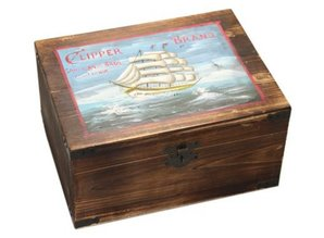 "Genuine wooden shipping crates ""Clipper"" with hinged lid"