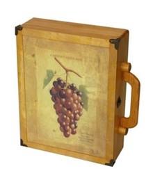 """Gekleurde houten wijnkoffers """"Wijntros"""" met afbeelding wijntros (geschikt voor 3 flessen wijn)"""