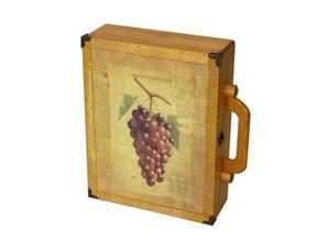 """Mooie gekleurde houten wijnkoffers """"Wijntros"""" met afbeelding!"""