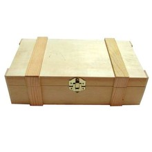 2-compartment wooden wine boxes with hinged lid with moldings (dimensions 372 x 222 x 101 mm)