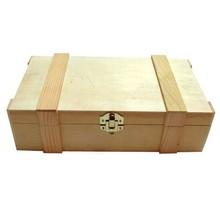 2-vaks houten Wijnkisten met scharnierend deksel met sierlijsten (afmeting 372 x 222 x 101 mm)