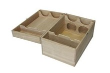 Luxury four-compartment wooden wine boxes with hinged lid (size 210 x 180 x 330 mm)