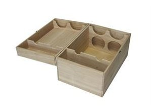 Luxury 4-bin buy wooden wine boxes with hinged lid? With us you can buy these luxury 4-compartment wooden wine crates and order online! This luxury wine boxes with hinged lid allows you to four bottles of wine packaging.