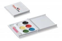 Schmink set in doosje (6 verschillende kleurtjes schmink + kwastje)