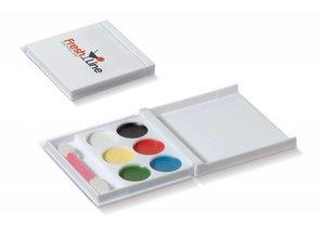 Schmink set kopen? Schmink set in doosje! 6 verschillende kleurtjes schmink en een kwastje. Dit artikel biedt een mooie bedrukkingsruimte op de deksel van het doosje.