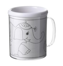 Sign mugs for children, double-walled plastic (with three interchangeable coloring pages)