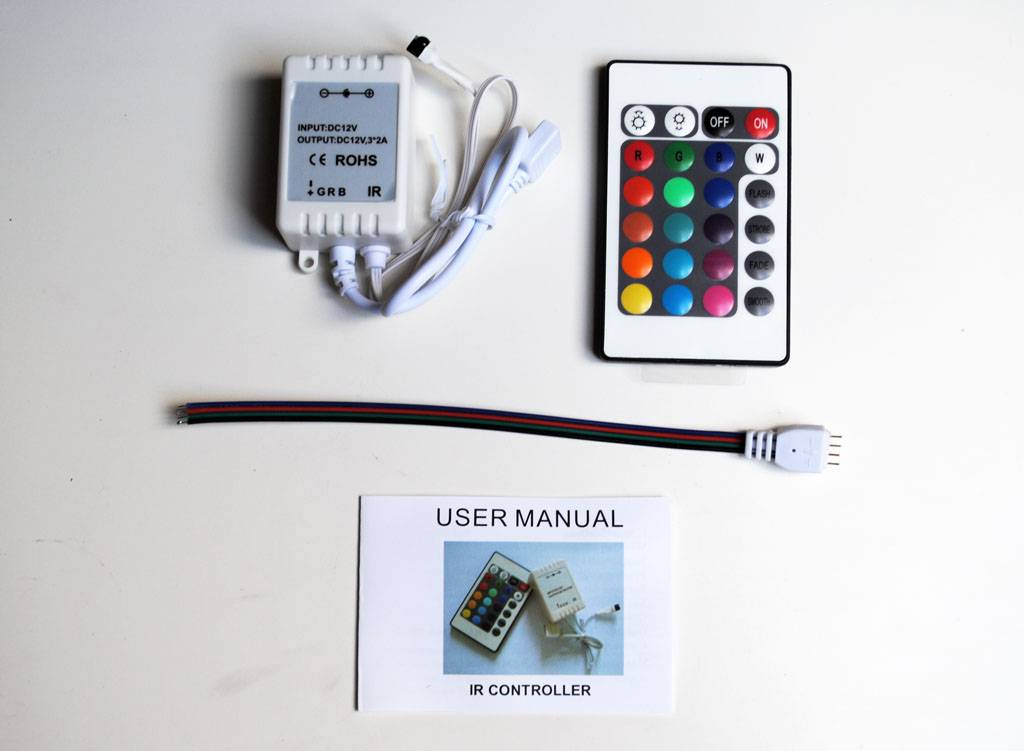 rgb controller f r rgb led streifen mit ir fernbedienung. Black Bedroom Furniture Sets. Home Design Ideas