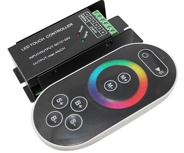 RGB Controller für RGB LED Streifen mit Touch-Fernbedienung - Schwarz - 8 Key