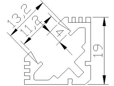 Angular aluminium profile 1 Meter - 45 Degrees