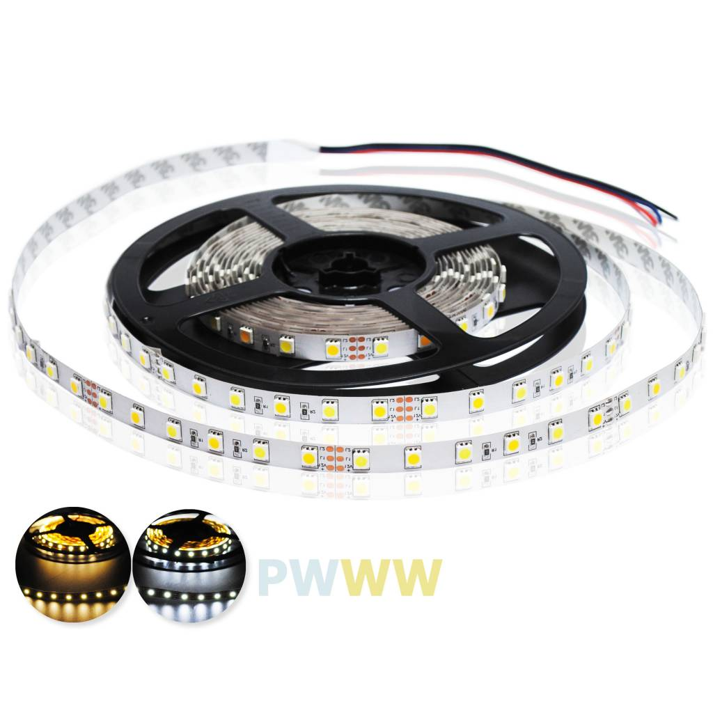 LED Strip 5050 60 LED/m Warm White ~ White Color Temperature Adjustable - per 50cm