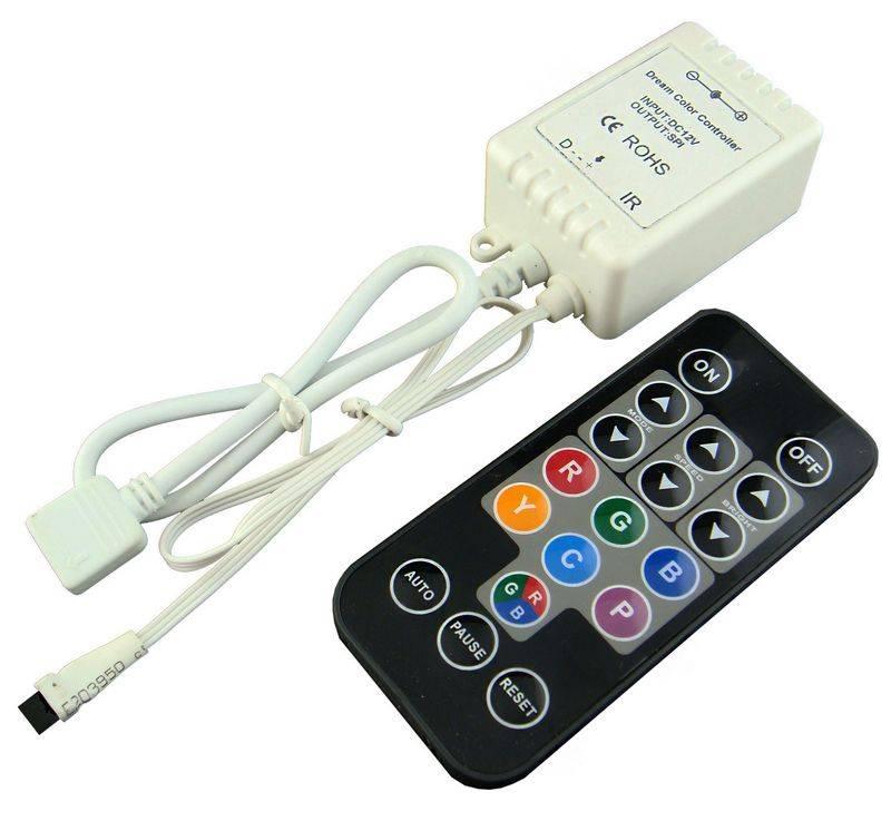 Mini Controlador para Tira LED Digital con control remoto IR