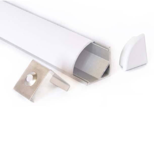 Aluminium Winkelschiene abgerundet 1 Meter - 45 Grad