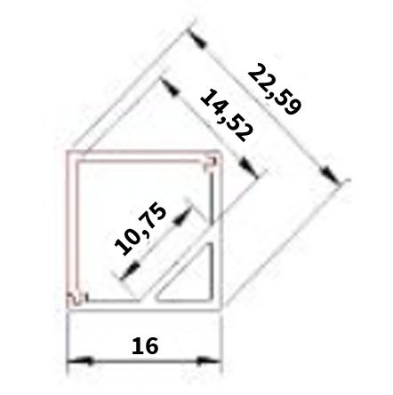 Angular Square aluminium profile 1 Meter - 45 Degrees