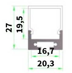 Perfil de aluminio cuadrado 1 Metro