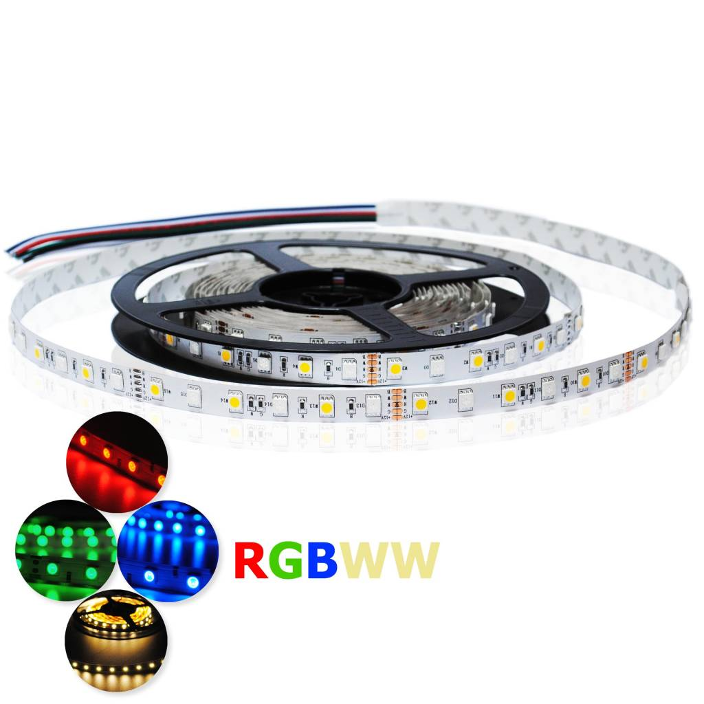 led strip rgb ww 60 led m single chip flexible waterproof. Black Bedroom Furniture Sets. Home Design Ideas