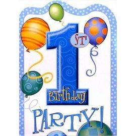 Uitnodigingen Blue Balloons (8st)