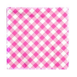 Servetten roze ruitjes (16st)