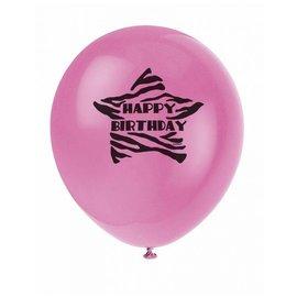 Ballonnen Happy Birthday (zebra) (8st)