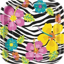 Gebakbordjes flowers / zebra (8st) OP=OP