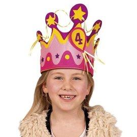 Verjaardagskroon stof meisje (1-5 jaar)