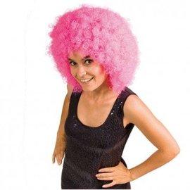 Afro pruik (XXL) roze