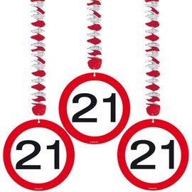 Hangdecoratie 21 jaar (3st)