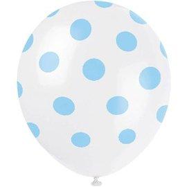 Ballonnen wit met blauwe stippen (6st)