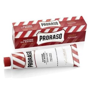 Proraso El jabón de afeitar de color rojo en un tubo