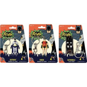 Batman Classic 1966 TV Bendable Figure Keychain - Set (3)