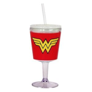Wonder Woman Plastic Goblet with Straw