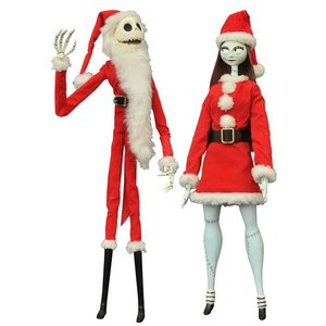 Nightmare before Christmas Puppen Doppelpack Santa Jack & Sally Coffin Dolls Limited Edition 41 cm