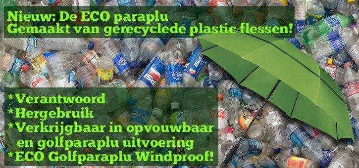 De ECO paraplu van gerecyclede plastic flessen!