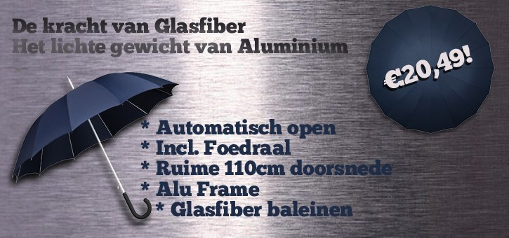 Lichtgewicht alu + glasfiber topparaplu 110cm doorsnee!