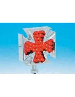 Chrome billet aluminum Maltese Cross LED marker lights, pair