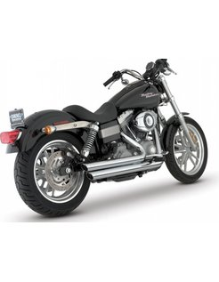 Staggered exhaust with power chamber 2006-2017 Dyna (exclude FLD) - chrome