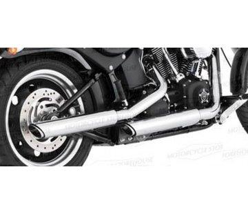 Vance & Hines Harley exhaust Twin Slash 3 inch Mufflers Black or Chrome - Fits:> 07-16 FLSTF; 10-16 FLSTFB FATBOY; 2007 DEUCE